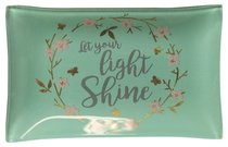 Small Glass Trinket Tray: Let Your Light Shine...Light Blue/Floral Wreath (Sparkle Range)