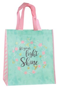 Non-Woven Tote Bag: Let Your Light Shine (Turquoise/flower Wreath)