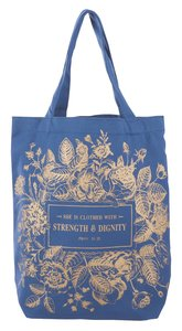Canvas Floral Tote Bag: Strength & Dignity, Navy Blue/Rose Gold Etching