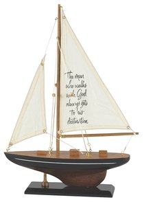 Sailboat Wood/Fabric: The Man Who Walks With God (Black & White Stripe)