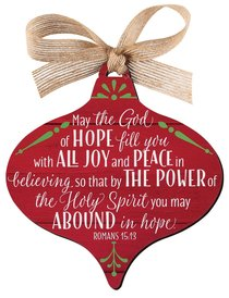 Christmas Mdf Red Barnwood Ornament: Joy, Wide Teardrop Shape (Romans 15:13)