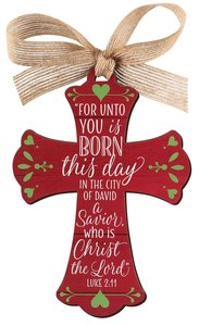 Christmas Mdf Red Barnwood Ornament: Cross (Luke 2:11)