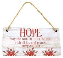 Christmas Rustic Country Ornament: Hope Red and White (Romans 15:13)