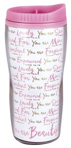 Acrylic Wavy Tumbler Mug: You Are Beautiful, White/Pink (Various Scriptures)