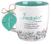 Ceramic Mug Creative Definition: Imagine, Turquoise/White (Ephesians 3:20)