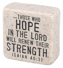 Cast Stone Plaque: Hope Scripture Stone, Cream (Isaiah 40:31)