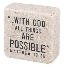 Cast Stone Plaque: Faith Scripture Stone, Cream (Matthew 19:26)