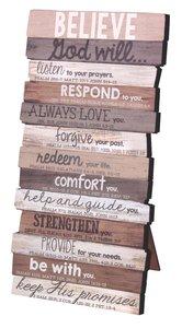 Stacked Word Wall Plaque: Believe, Mdf/Paper, Desktop