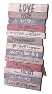 Stacked Word Wall Plaque: Love, Mdf/Paper, Desktop