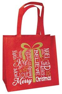 Christmas Eco Tote Bag Gold Ink: Present Believe Joy Faith Hope Love Noel Merry Christmas