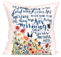 Gracelaced Steadfast Love: Pillow, White/Coloured Floral Garden Under Scripture (Lam 3:22-23)