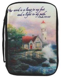 Bible Cover Thomas Kinkade Large Beacon of Hope Lighthouse Navy