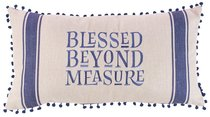 Oblong Pillow: Blessed Beyond Measure, Cream/Blue