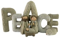 Resin Knitted Finish White/Beige Holy Family: Peace