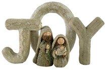 Resin Knitted Finish White/Beige Holy Family: Joy