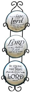 Ceramic Plate Set of 3 Incl Plastic Rack: Be Strong & Take Heart; the Lord is My Shepherd; Those Who Hope in the Lord, Blue/White With Scriptures