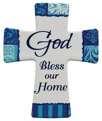 Ceramic Cross Wall Plaque: God Bless Our Home, Blue/Light Blue/White Patterns