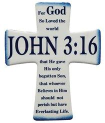 Ceramic Cross Wall Plaque: John 3:16, Blue/White