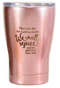 Tumbler Mug Stainless Steel: This is the Day, Metallic Light Pink