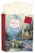 Christmas Gift Bag Large: Thomas Kinkade - Glory to God in the Highest (Incl Tissue Paper & Gift Tag) (Luke 2:14 Kjv) Stationery
