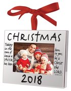Christmas Ornament Frame: Christmas 2018, Silver With Red Ribbon Bow (Luke 2:11)