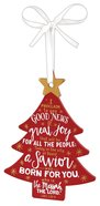 Christmas Mdf Tree Ornament: Christmas, Red With White Ribbon (Luke 2:10-11) Homeware