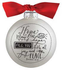 Christmas Glass Bauble Ornament Scripture Ink: Hope, Silver Solid Glass/Non Transparent/Red Ribbon Bow (Romans 15:13)