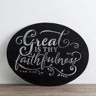 Round Metal Sign: Faithfulness, Chalkboard Look, (Lam 3:23)