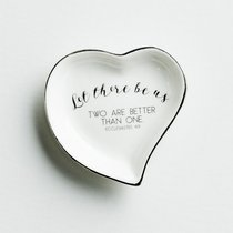 Ceramic Heart Shape Ring Dish: Let There Be Us. Two Are Better Than One, Silver Foil (Ecc 4:9 Kjv)