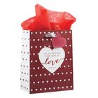 Gift Bag Medium: Let All That You Do Be Done in Love, Red With Small White Hearts (1 Cor 16:14)