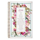 Wirebound Notebook: Love is Patient, Love is Kind, Pink Floral (1 Cor 13)