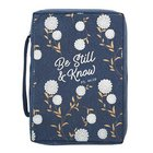 Bible Cover Poly Canvas Medium: Be Still & Know, Navy/White Cotton Flowers, Carry Handle