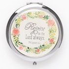 Compact Mirror: Rejoice in the Lord Always, Floral