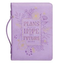 Bible Cover Trendy Medium Plans to Give You Hope and a Future, Purple Floral Luxleather (Jer 29:11)