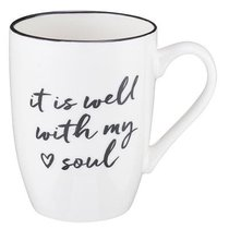 Ceramic Mug: It is Well With My Soul, White/Gold Foiled