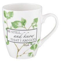 Ceramic Mug: Be Still and Know That I Am God, White/Green Leaves (Psalm 46:10)