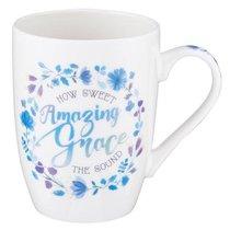 Ceramic Mug: Amazing Grace How Sweet the Sound, Blue/Purple Floral