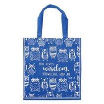 Tote Bag: God Gives Wisdom, Knowledge and Joy, Blue/White Owls (Ecc 2:26)