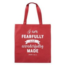 Tote Bag: I Am Fearfully and Wonderfully Made, Red/White (Psalm 139:14)
