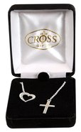 Necklace: Silver Plated Heart With Cross Lariet on 45Cm Silver Plated Chain Jewellery