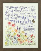 Gracelaced Steadfast Love: Framed Natural Canvas, Coloured Floral Garden Under Scripture (Lam 3:22-23) Plaque
