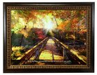 Framed Art: In All Thy Ways Acknowledge Him.... Bridge Crossing Stream in Forest (Proverbs 3:6) Plaque