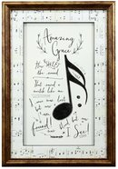 Framed Art Print: Amazing Grace Music Notes Plaque