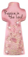 Sentiment Double-Sided Cross: Rejoice in the Lord, Pale Pink, May the Lord Bless You and Keep You Homeware