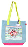 Let Your Light Shine Tote Bag: Love, Pale Blue/Pink/Yellow Handles Soft Goods
