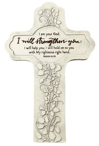 Cast Stone Cross: I Will Strengthen You, Vine Etching (Isaiah 41:10)
