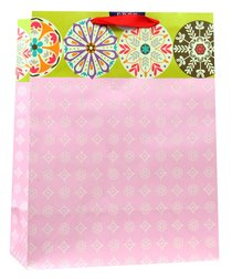 Gift Bag Large: Pink White Pattern, Lord You Have Made Me Happy (Psalm 92:4)