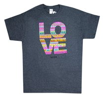 Womens T-Shirt: Love Doodle Medium Multicolors (1 Cor 13:8)