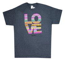 Womens T-Shirt: Love Doodle Large Multicolors (1 Cor 13:8)