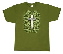 T-Shirt Military Cross: Medium Khaki/Silver/Black (Psalm 27:3)